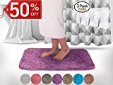 Yimobra Lively Color Bath Rugs XL 31.5 X 19.8 Inch Soft Non slip High Absorbent Bathroom Mats Purple with Red free Wall Hooks 3 Pack