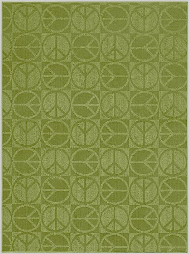 Garland Rug Large Peace Area Rug, 5-Feet By 7-Feet, Lime front-992792
