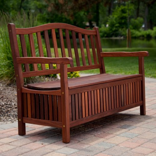 Coral Coast Coral Coast Richmond Curved Back Outdoor Wood Storage Bench, Dark Wood, Wood, 51L x 23.5W x 36H in.