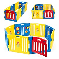 Onebigoutlet© Baby Playpen Kids 8 Panel Safety Play Center Yard Home Indoor Outdoor Pink Girls