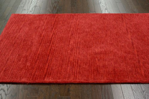 nuLOOM Cine Collection Danilo Contemporary Solid and Striped Hand Made Area Rug, 5-Feet by 8-Feet, Red