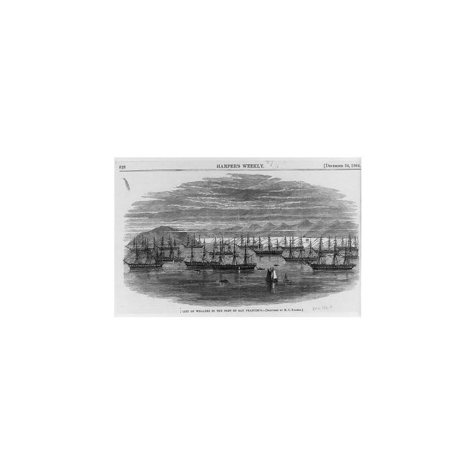 Photo Fleet,whalers,port of San Francisco,California,CA,1864