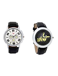 Gledati Men's White Dial And Foster's Women's Black Dial Analog Watch Combo_ADCOMB0001763