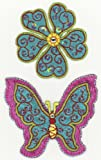 Green Flower and Butterfly motifs Ironsewglue on embroidery patches x 2 assorted