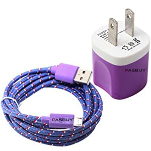 PASBUY® 3Ft/Purple 2 in 1 Ac wall Charger+Braided Micro USB Data Sync Charging Cable For Galaxy S4 S3 Note2, Htc, LG, Google Phones