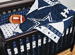 NFL Dallas Cowboys Crib Bedding - 4pc Football Baby Quilt Bed-in-Bag by Sports Coverage