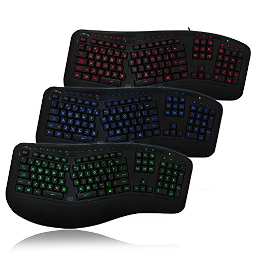 Adesso Tru-Form 150 3-Color Illuminated Ergonomic Keyboard (Akb-150Eb)