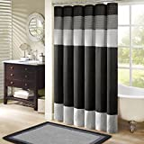 "Madison Park MP70-246 Amherst Shower Curtain 72x72"" black,72x72"""