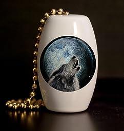 Howling Wolf Porcelain Fan / Light Pull