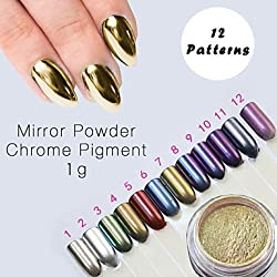 Generic Chrome Mirror Powder Gold Pigment Ultrafine Powder Dust Nail Glitters Nail Sequins Nail Art Decorations 1g #05146580(12)