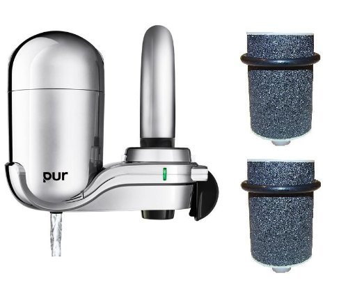 PUR 3-Stage Vertical Faucet Mount in Chrome FM-3700B + Year Supply of AquiferCo's Water Filters
