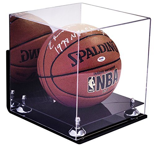 Deluxe Wall Mounted Acrylic Full Size Square NBA Basketball Display Case with Mirror with UV Protection (A001-SR) (Clear Display Case Wall Mount compare prices)
