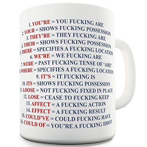 Funny Mug - Grammar Expletive and Rude - 11 OZ Coffee Mugs...