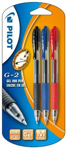 Pilot G2 - Bolígrafo roller retractable (tinta de gel, 3 unidades), , color es variados