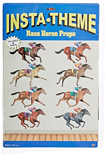 "Beistle 52087 Printed Race Horse Props, 29"", 8 Pieces In Package"