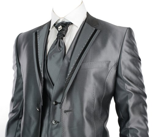 Mens Slim Fit Wedding Party Suit Grey 4 Piece Daimontes & Black Trim