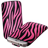 Pink & Black Zebra Print Leather Xylo-Pouch Case Cover with Pull Up Cord: for the Apple iPod Touch 5 / 5th Generation / 5G - 32GB & 64GB