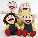 Caucasian Family Hand Puppet Set includes Mother, Father, Sister and Brother.