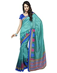 Inddus Exclusive Women Bhagal Puri Silk Printed Green Saree - B00OLYDSUA
