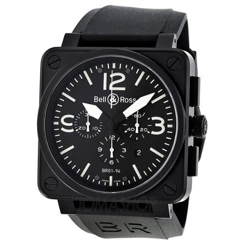 Bell and Ross Carbon Chronograph Black Dial Stainless Steel Mens Watch BR0194-BL-CA