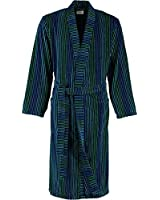 Cawö hommes la lumière de peignoir en velours rayé kimono - Bleu / Vert