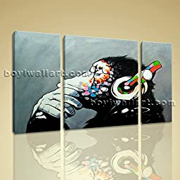 Picture Of Thinking Monkey With Headphone Large Wall Art Painting On Canvas 3 Panels Wall Art Inner Framed Ready To Hang by Bo Yi Gallery 50\