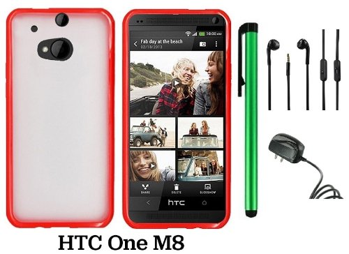 Htc One M8 Premium Transparent Clear Composite Material Back Cover Case (For 2014 Htc New Flagship Android Phone) + Travel (Wall) Charger + 3.5Mm Stereo Earphones + 1 Of New Assorted Color Metal Stylus Touch Screen Pen (Red Tpu Edge With Clear Plastic Mid