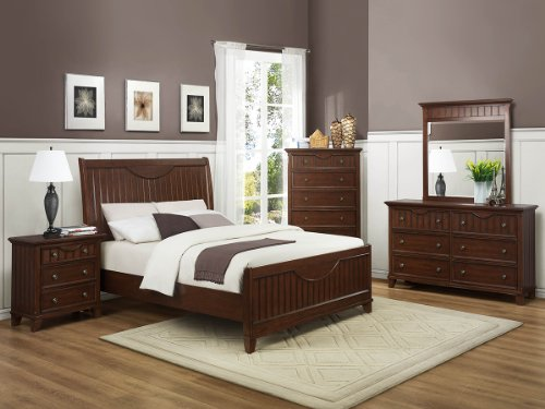 Alyssa 5 Pc Queen Bedroom Set With 2 Nightstand By Homelegance In Cherry