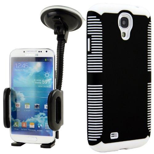 Celljoy Hybrid Tpu 2Pc Layered Sport Hard Case Rubber Bumper + Dash Mount Car Holder Bundle For Samsung Galaxy S4 Siv (At&T / Verizon / Us Cellular / Sprint / T-Mobile / Unlocked) [Celljoy Retail Packaging] (Black & White)