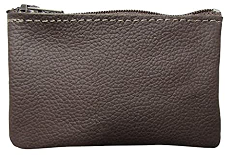 North Star Men's Leather Zippered Coin Pouch Change Holder (4 X 2.5 X 0.25 Inches, Brown)