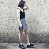 2016 秋冬 女性服 韓国風 ノースリーブ ベスト スリング ニット 暖かい ボ フリーサイズ グレーブルー 【1点】