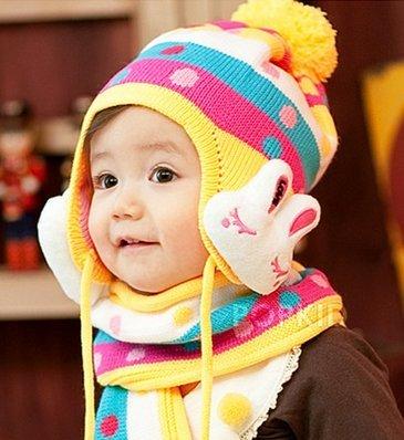 (インスタイルベイビー) InStyle Baby ベビー 可愛いうさぎ ハンカチ付き カラフル ニット 帽子 マフラー セット 3色 (イエロー)