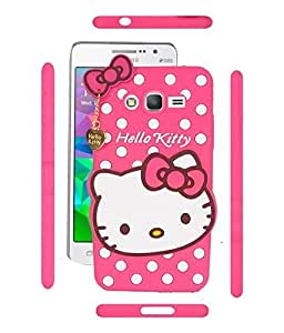 ROKAYA™ Cute Hello Kitty Silicone With Pendant Back Case Cover For Samsung galaxy J3 (Pink)