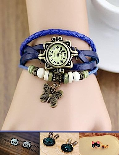 Dress up thieves! Antique watch charm Butterfly Butterfly bracelet leather belt leather one size fits most watch skin ethnic Asian wood beads motif multiple breath adjustable fashion accessories design resort [empty border Corps] (Navy)