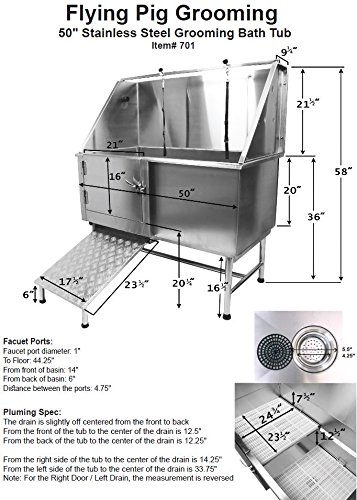 Flying Pig 50 Stainless Steel Pet Dog Grooming Bath Tub