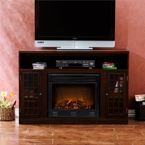 Narita Espresso Media Console with Electric Fireplace - Southern Enterprises FA9301E