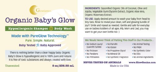 GlowGenics Organic Baby's Glow Baby Wash & Shampoo. Hypoallergenic, Fragrance Free. Made in the USA. - 1
