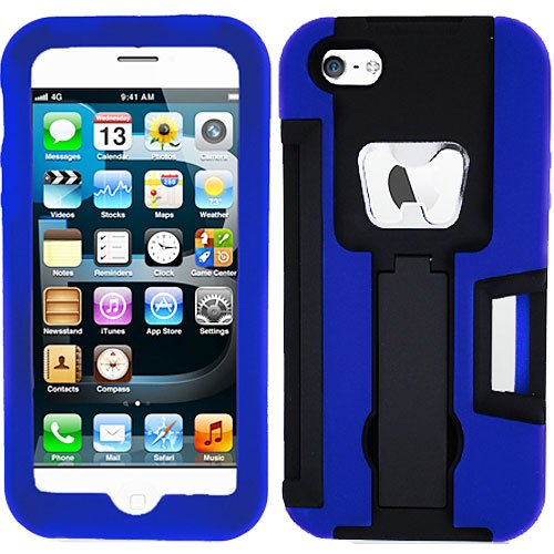 Black Blue Bottle Opener Hybrid Rubber Soft Skin Kickstand Case Hard Cover For Apple Iphone 5 5S With Free Pouch