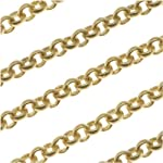 Matte Gold Plated Round Rolo Chain 3mm Bulk By The Foot