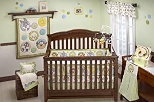 Baby Looney Tunes 4 Piece Tweety Circles Crib Set  Ivory Green