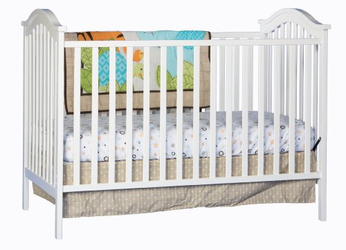 Stork Craft Hampton Fixed Side Convertible Crib, White - 1