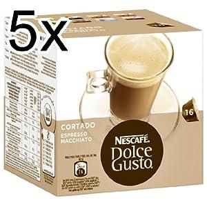 Nescafé Dolce Gusto Cortado Espresso Macchiato, Pack of 5, 5 x 16 Capsules