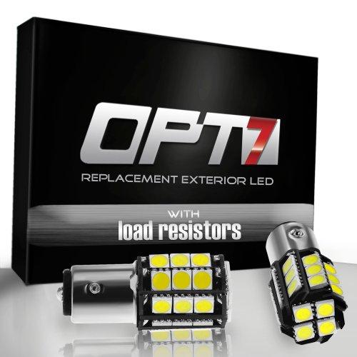 Opt7® 1156 Ba15S Advanced Bright 28-Smd Led - Signal/Reverse Light Bulbs W/ Load Resistors - Amber