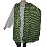 Green Lahriya Printed Cotton Beaded Dupatta for Women Clothing Accessory from India 102 x 209 cmsby DakshCraft