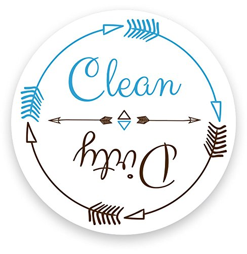 Dishwasher Magnet Clean Dirty White 3 inch Round Magnet - Boho Stylish Cool Tribal Primitive Arrow Design Flip Kitchen Magnet for Home Decor, Gift for Men & Women, or Party Favors, Made in USA (Dishwasher Clean Dirty Sticker compare prices)