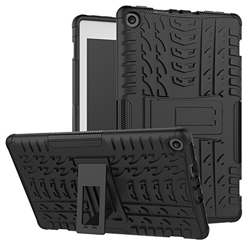 MAOMI for Kindle fire hd 8 case 2017 2018 Release,Kickstand Shock-Absorption Heavy Duty Armor Defender Cover (Black) (Color: Color 1)