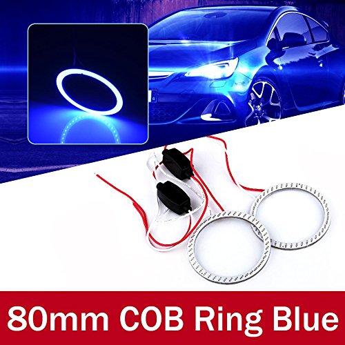 oxgrow (TM) 2x 80mm LED COB voiture angel eye Halo Joint torique cristal lumière Super Bright lampe frontale imperméable blanc/bleu