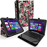 IGadgitz 'Vintage Collection' Pink on Black Floral PU Leather Folio Case Cover for Asus Transformer Pad TF103C 10.1