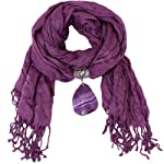 Bucasi Isabel Agate Gem Stone Embellished Pendant Scarf with Soft Fabric in Purple