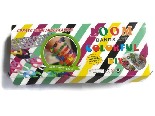 Loom Bands Kit Colorful DIY - Includes Loom Board, 600 Latex Free Loom Bands with Clips - 4 Charms Included